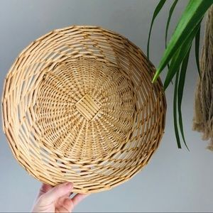Flat Rattan Wicker Basket Wall Decor